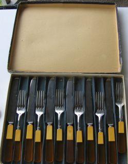 Two Tone Butterscotch Englishtown Bakelite 12 pc Stainless Steel Knife