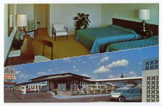 JOLLY ROGER MOTEL EULESS TEXAS TX VINTAGE POSTCARD + INTERIOR VIEW S11