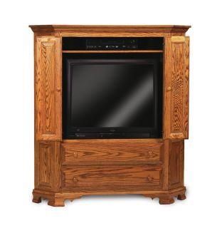 Amish Corner TV Entertainment Center Solid Wood Media Furniture