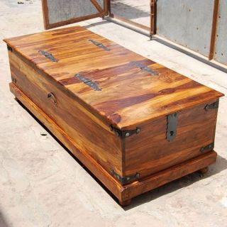 Solid Wood Storage Coffee Table Entry Way Bench Hope Chest with