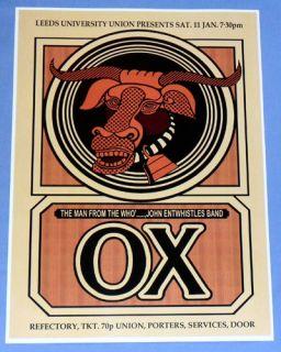 John Entwistles OX Concert Poster   Leeds University 1975   Mad Dog