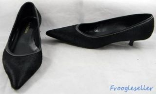 Enzo Angiolini Womens Impact Kitten Heels Shoes 8 M Black Pony Hair