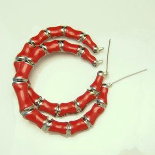 vintage large silvertone red enamel hoop earrings description an extra