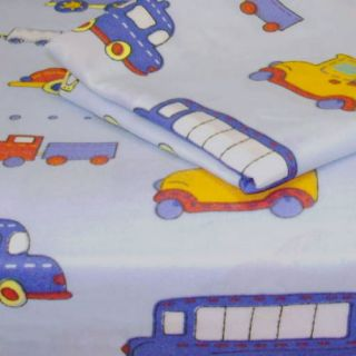 Extra Long Twin Sheet Set Cars Trucks Trains Bedding