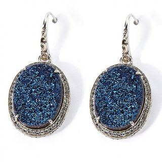 Jewelry Earrings Drop Hilary Joy Blue Drusy andWhite Topaz Lace