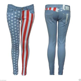 New♥ Ladies Denim Skinny Jeans Slim Fit USA American Flag Stars and