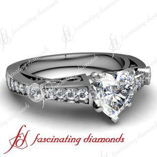 Filigree Art 0.90 Ct Heart Shaped Diamond SI2 F Color Engagement Ring