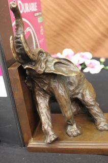 Pair Elephants Book End Bronze Sculpture Figure Art Deco Animals