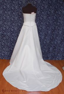 Eden Bridals 5037 White Satin Wrap Strapless Wedding Dress 12