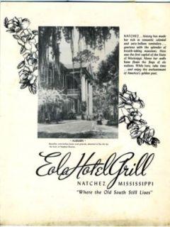 eola hotel grill menu natchez mississippi 1956