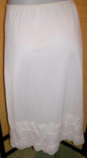 Fab Vintage Embroidered Floral Nylon Half Slip w Lace Feminine Frilly