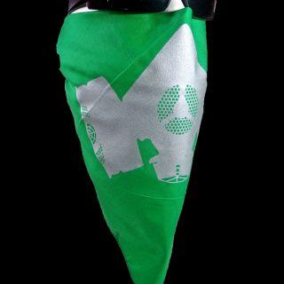 Green INSTA FACE BANDANA ~Silver GAS MASK~ motorcycle biker army