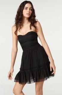 Elizabeth and James $445 Black Silk Alice Strapless Corset Dress 8 New