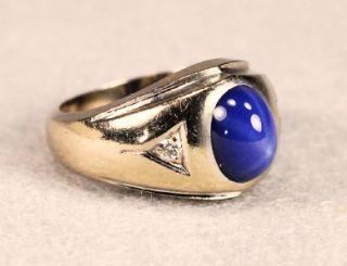 Vintage Blue Linde Star Sapphire w/ Diamonds ~ 14k Mans Ring