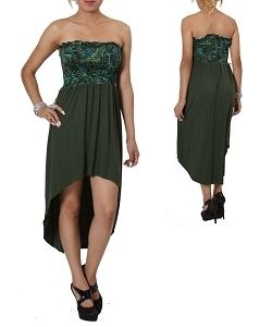 New Womens Junior Plus Size Clothing Sexy Tube Dress in Olive Green