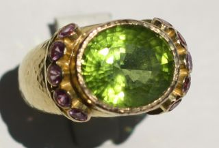 Elizabeth Locke Oval Green Peridot Pink Sapphire Ring 19kt yellow gold