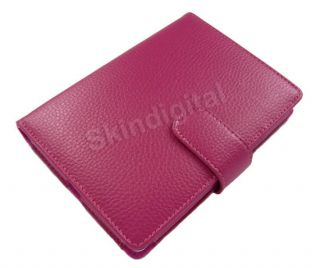 For Kobo Touch eReader Hot Pink GENUINE LEATHER Case Skin Cover