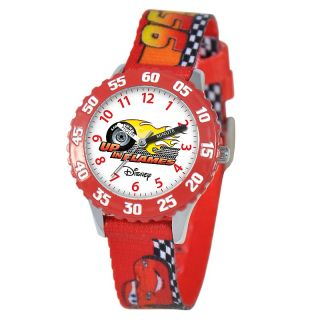 111 6254 disney disney cars kid s time teacher watch red printed strap