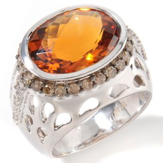 110 909 6 88ct cinnamon quartz and diamond sterling silver oval ring
