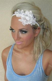 White Silver Diamante Vintage Flower 1920s Dance Head Hair Band