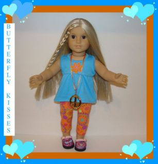 Doll Clothes Fit American Girl Julie 70s Pant Set Peace Sign Necklace