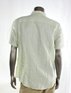 Perry Ellis New Green Mens Casual Shirt Button Linen Lightweight Size