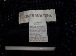 Black Purple Tweed Wool Blend Jones New York Career Blazer Jacket Sz 8