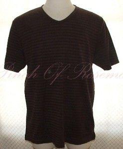 Perry Ellis Mens Short Sleeved Striped V Neck Tee Shirt T Shirt