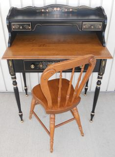Ethan Allen Stenciled Hitchcock Style Desk & Chair black painted, nice