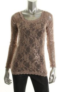 Famous Catalog Moda New Pink Sequined Lace Long Sleeve Blouse Top M