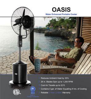 Lava Heat Italia Oasis Misting Fan Black 26 Cooling Fan 5 yr Warantee