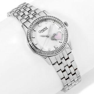 136 374 caravelle bulova ladies crystal double heart bracelet watch