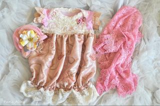Rose Bloom~French Lace Dress,Hat & Blanket 4 Reborn Baby Doll