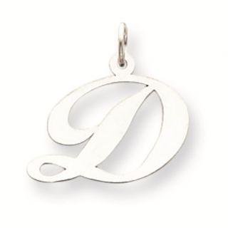 14k White Gold Medium Fancy Script Initial Letter D Charm