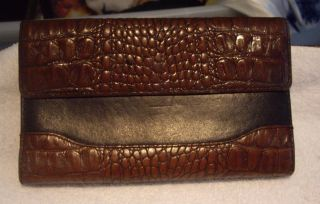 Brahmin Womens Leather Croc Wallet Brown Black Fairhaven Mass