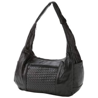 Embassy™ Genuine Black Lambskin Leather Hobo Style Designer Purse