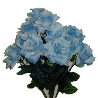 Open Rose w 12 Roses Light Blue Silk Flowers Artificial Wedding