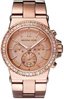Michael Kors MK5412 Rose Gold Baguette Bezel Chronograph Watch Brand