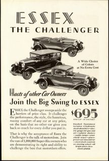1929 print ad essex the challenger big swing vintage advertising this