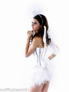 Sexy Womens Ladies White 5 Piece Angel Corset Fancy Dress Costume 8503