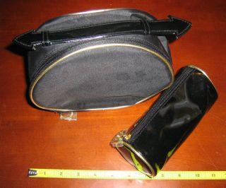 Estee Lauder Black Pattern Train Case Cosmetic Bag Gold Makeup