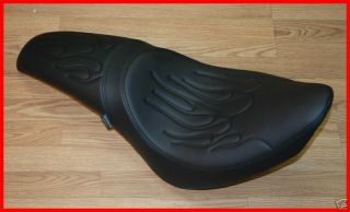 Slim Smooth Flamed Leather Seat 2006 2013 Harley Softail Fatboy
