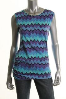 Famous Catalog New Blue Pattern Printed Ruched Tunic Pullover Top