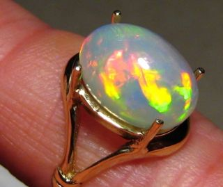 Ct Red Rolling Flash Welo Ethiopia Opal Ring 14k Yellow or White