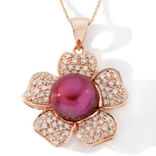 162 536 cranberry cultured fresh water pearl and diamond 14k rose gold