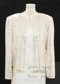 St John Evening 3pc Cream Knit Silver Gold Sequin Jacket Shell Skirt 6