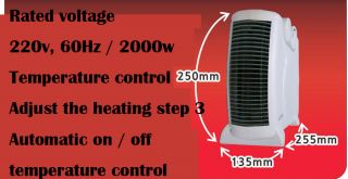 Flat or Upright Fan Heater 2000W Portable Electric Fire Blow Hot Air