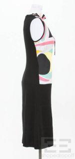 Emilio Pucci Black Wool Multicolor Silk Dress Size 8