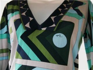 Emilio Pucci Green Geometric Design Long Sleeve V Neck Shirt 8 M