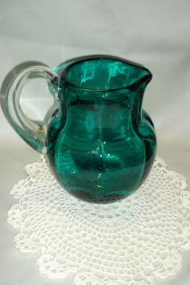 Beautiful Antique Blenko Heavy Art Glass Pitcher Aqua